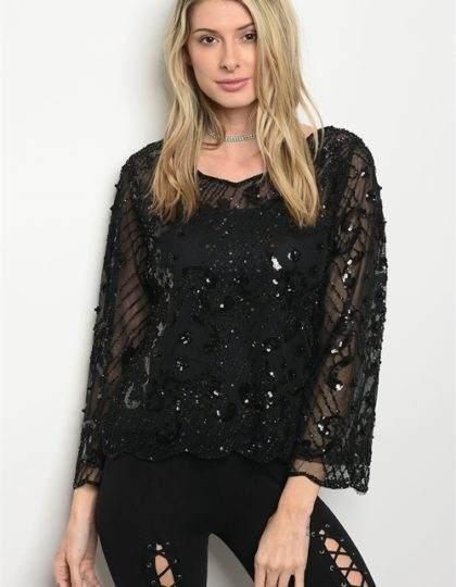 black sequin party top bellevue designer boutiques