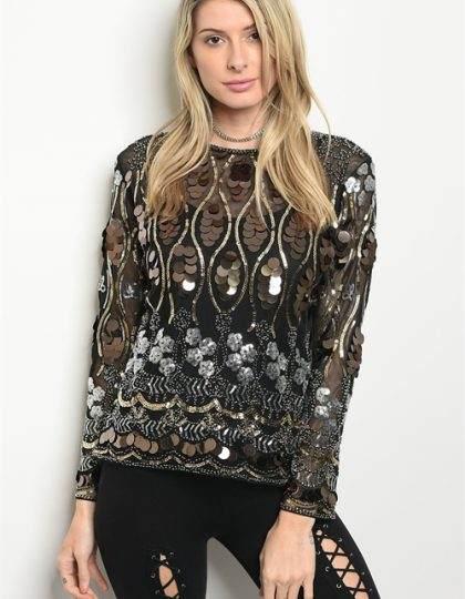 black silver sequin party top seattle boutique fashion boutique