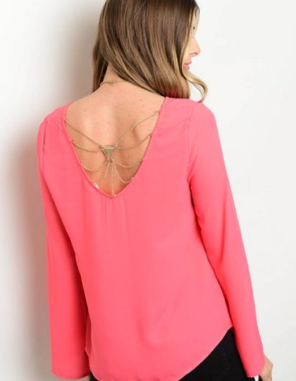 coral party bell sleeve top bellevue designer boutiques