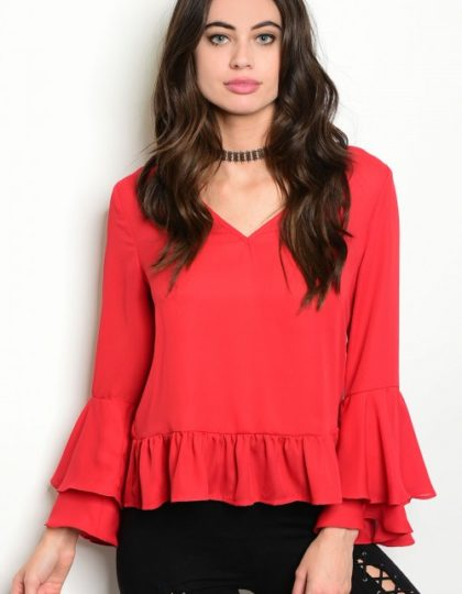 red party bell sleeve top bellevue designer boutiques