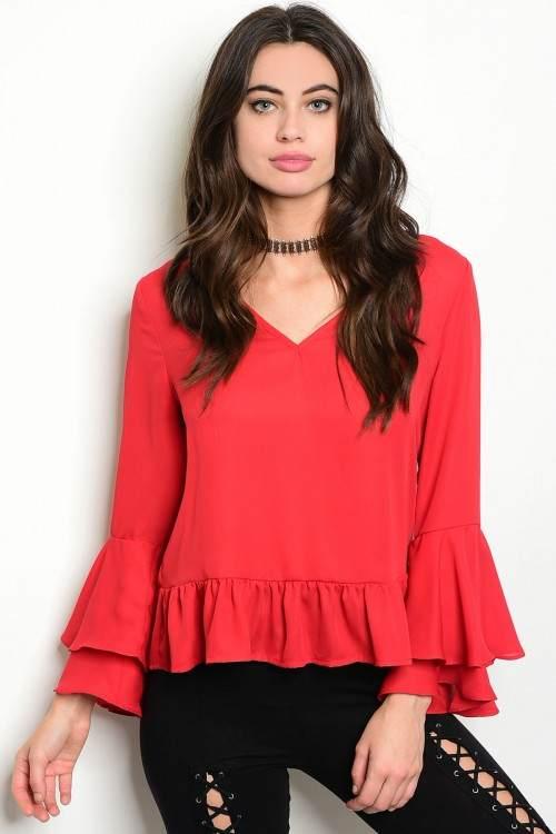 Buy Designer Red Bell Sleeve Top For Women Online Kahini