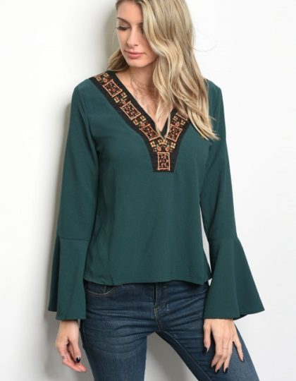 teal party bell sleeve top bellevue seattle designer boutiques