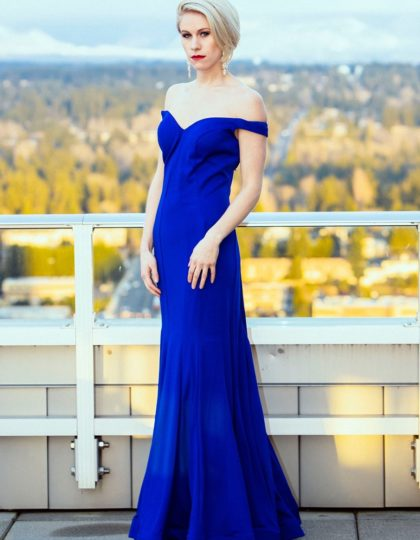 royal blue off shoulder designer long dress prom bridesmaid red carpet custom