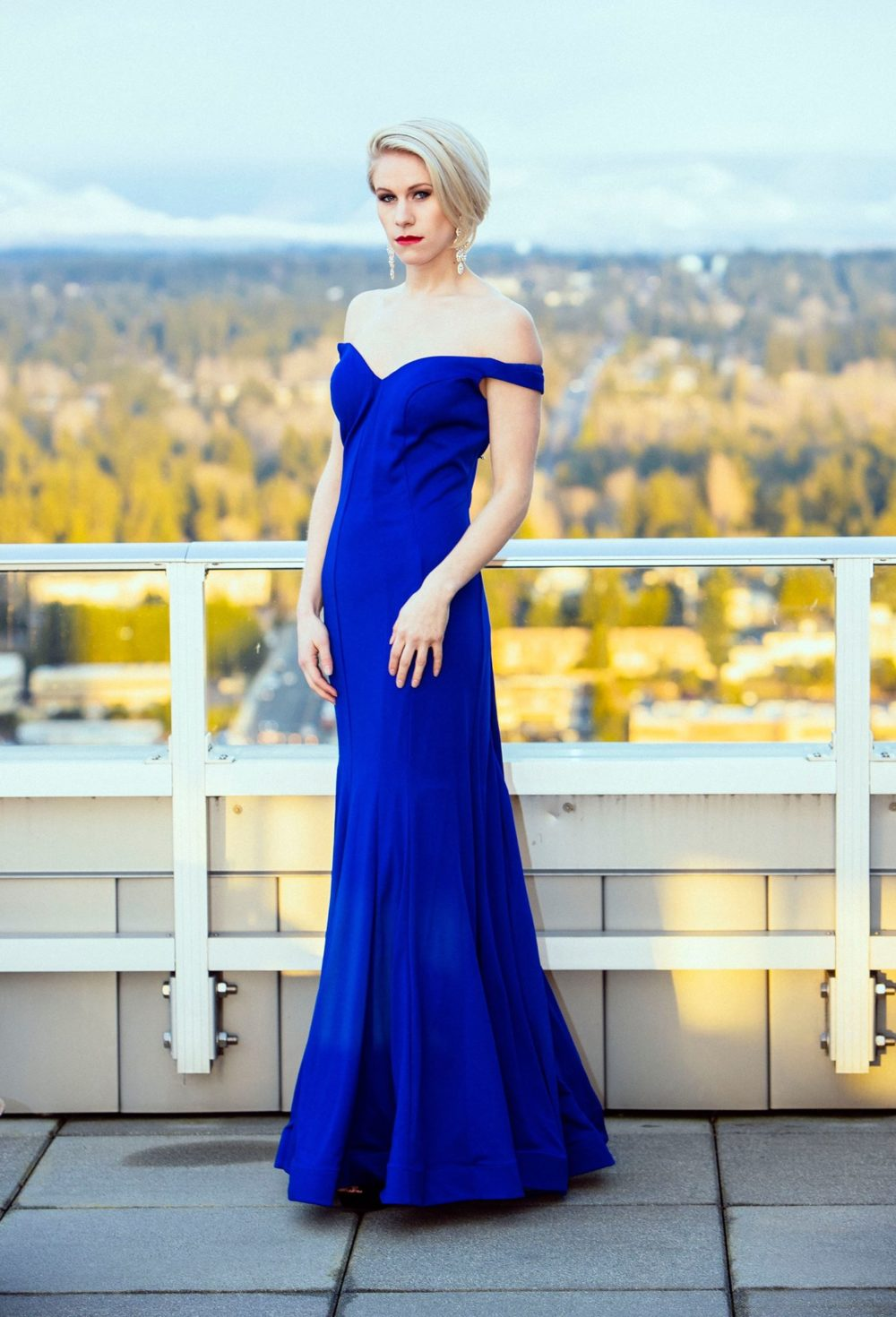 blue indigo long designer dress boutique off shoulder bellevue couture fashion boutique