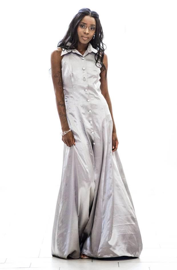 silver long designer dress bellevue seattle boutique