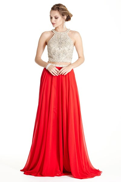 Red Designer Prom 2 piece Dress Skirt Bellevue Boutique (1)