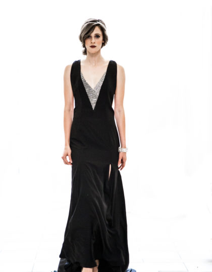 prom black silver long designer dress couture redcarpet bellevue seattle fashion boutique