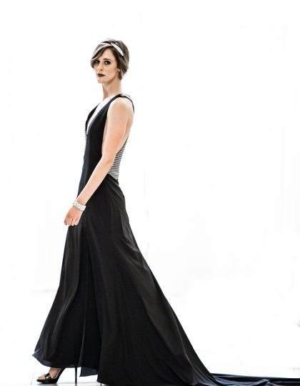 prom black silver long designer dress couture redcarpet bellevue seattle fashion boutique