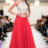 red beige beaded two piece skirt set long dress pagaent prom dress bellevue custom dress
