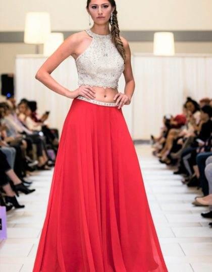 red beige beaded two piece skirt set long dress pagaent prom dress bellevue custom dress