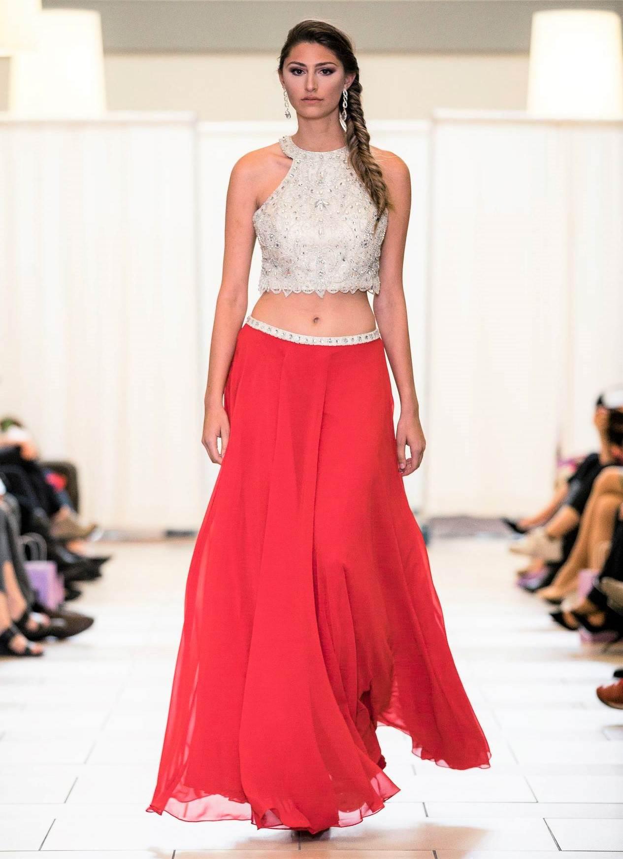 Buy Designer Crimson Red 2 Piece Party Skirt Top Set For Women ...