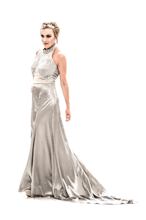 silver designer prom couture dress
