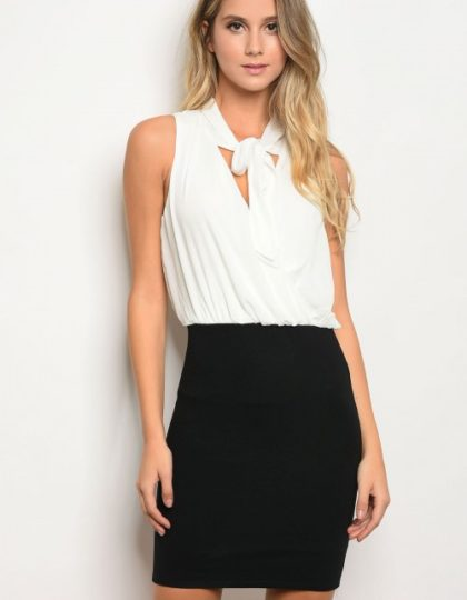 black white cocktail dress