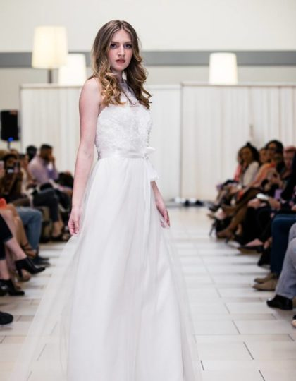 alfred angelo chiffon floral bodice side