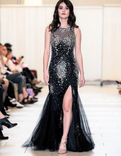 black rhinestone glamourour pagaent prom designer dress
