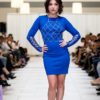 blue bodycon front cocktail dress