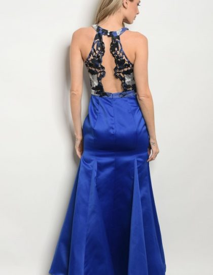 blue long gown back