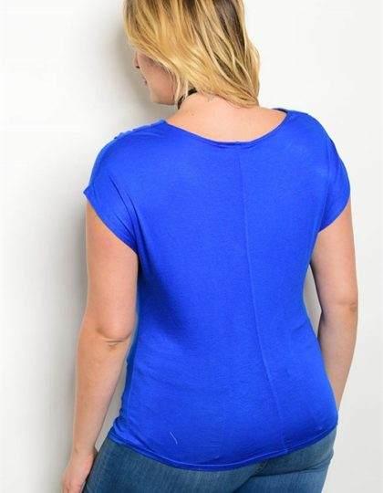 blue plus size top back