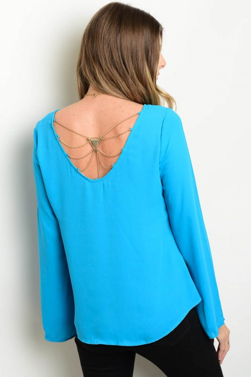 light blue top back