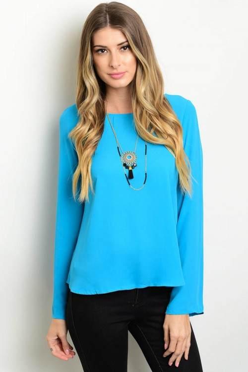 light blue top