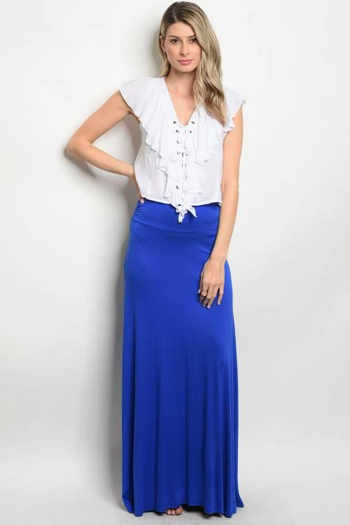 royal blue long skirt