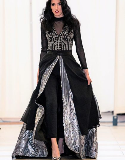 sequin designer long dress skirt with jumpsuit pagaent gown prom red carpet bellevue boutique