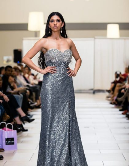 silver dazzling evening gown