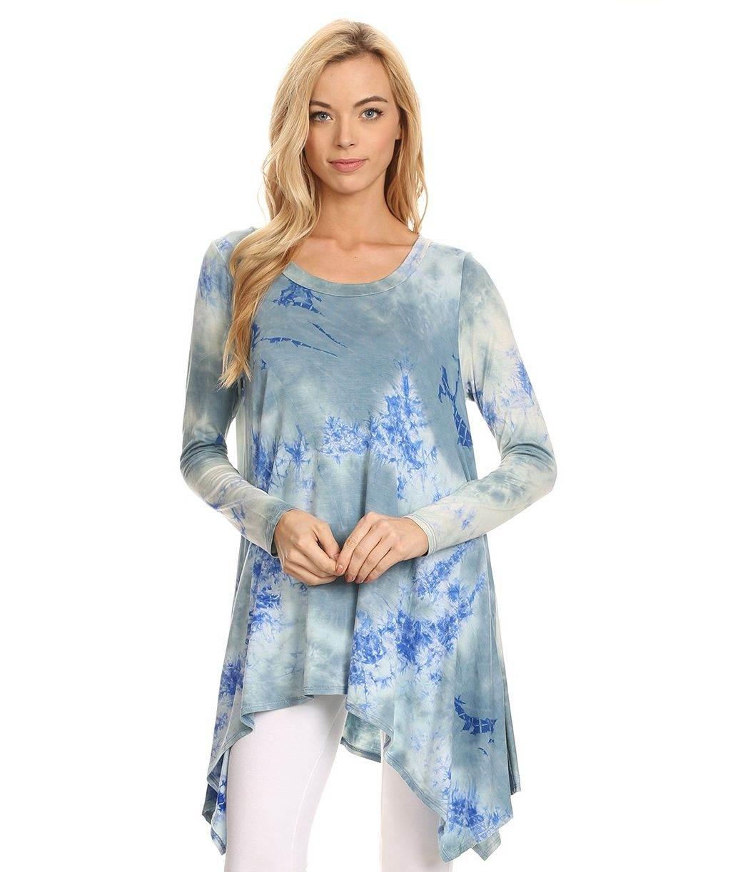 a9365ce3c4 Buy Designer Blue Grey Tie Dye Print Tunic Top For Women Online ...