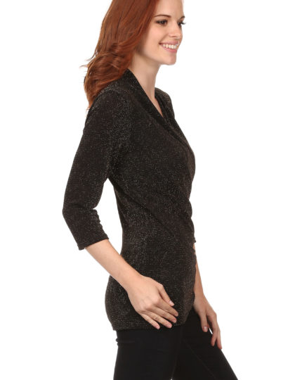 Black Fitted Silver Party Top full designer bellevue seattle boutique