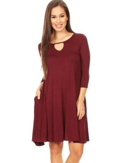 Burgundy loose summer shift dress with pocket designer boutique bellevue fashion