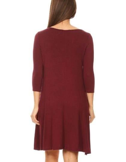Burgundy loose summer shift dress with pocket designer boutique bellevue fashion seattle