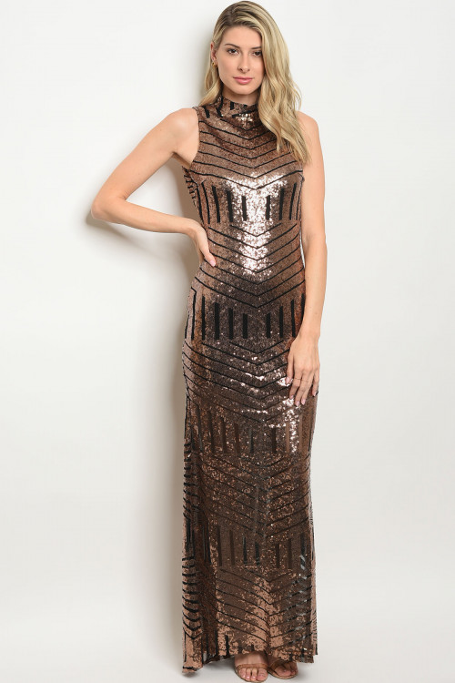 black gown with brass sequin F