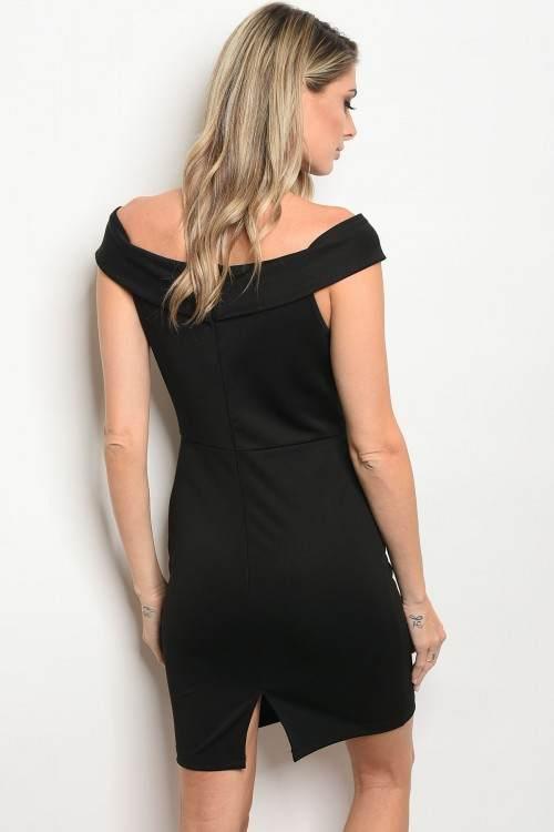 black off shoulder dress back