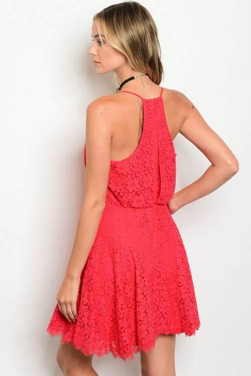 coral lace dress B