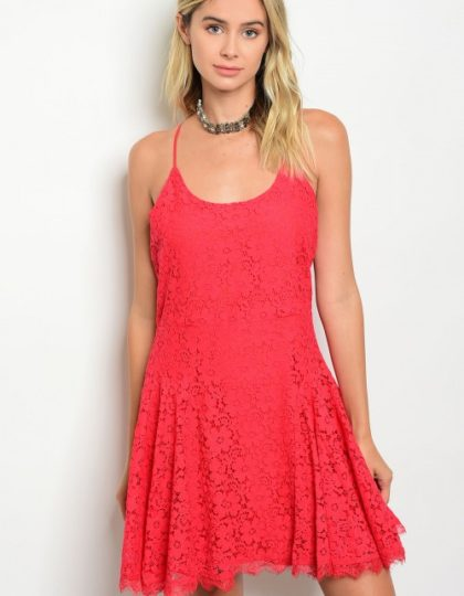 coral lace dress F