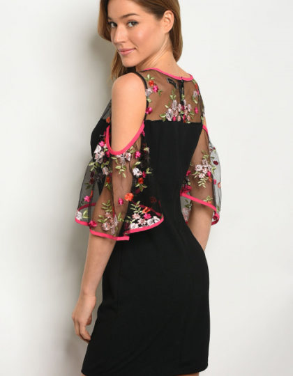 floral embroidery dress back