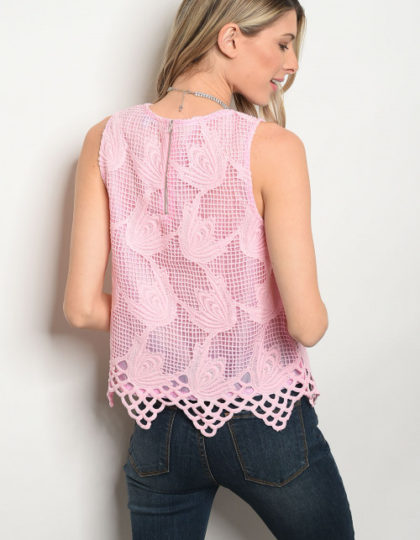 pink netted top B