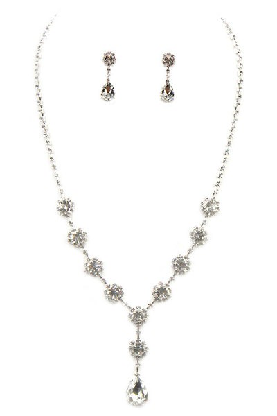 designer crystal party jewelry necklace set