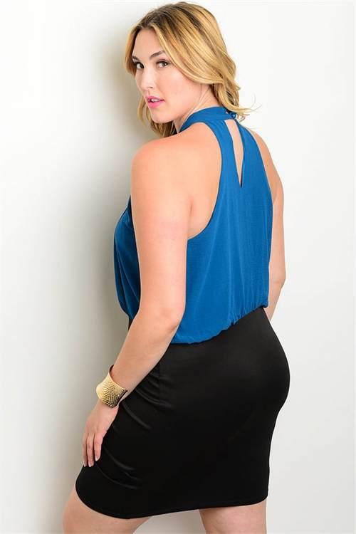 teal black plus size dress B