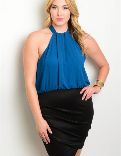 teal black plus size dress F