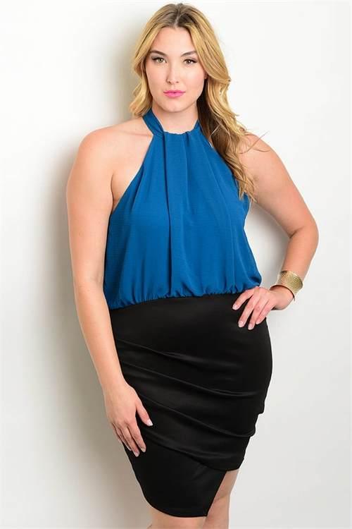 teal black plus size dress F