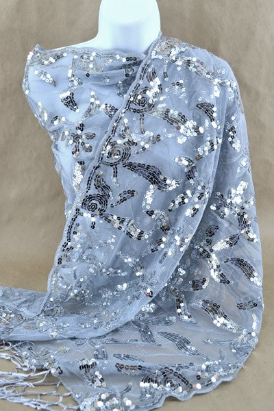 silver sequin party scarf