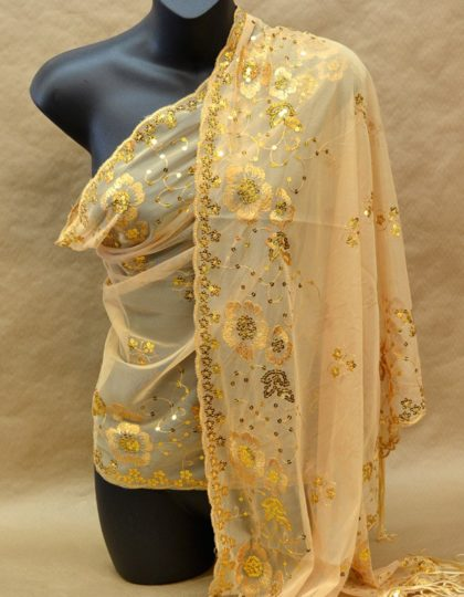 tan gold sequin scarf wrap