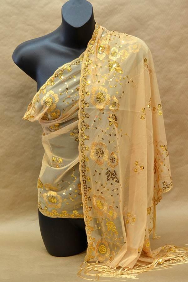tan gold sequin scarf wrap