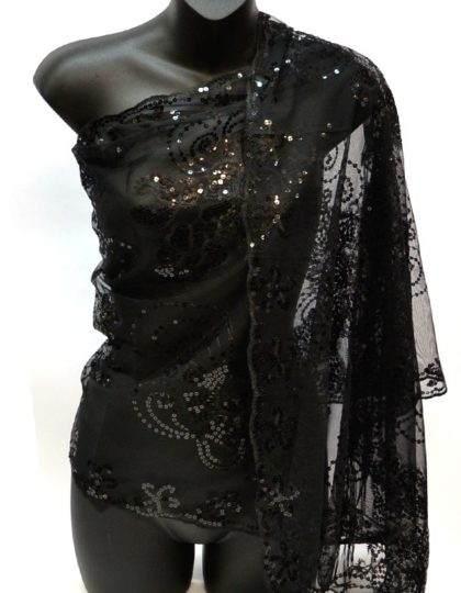 glitter scarf Black