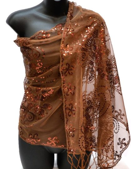 glitter scarf Brown