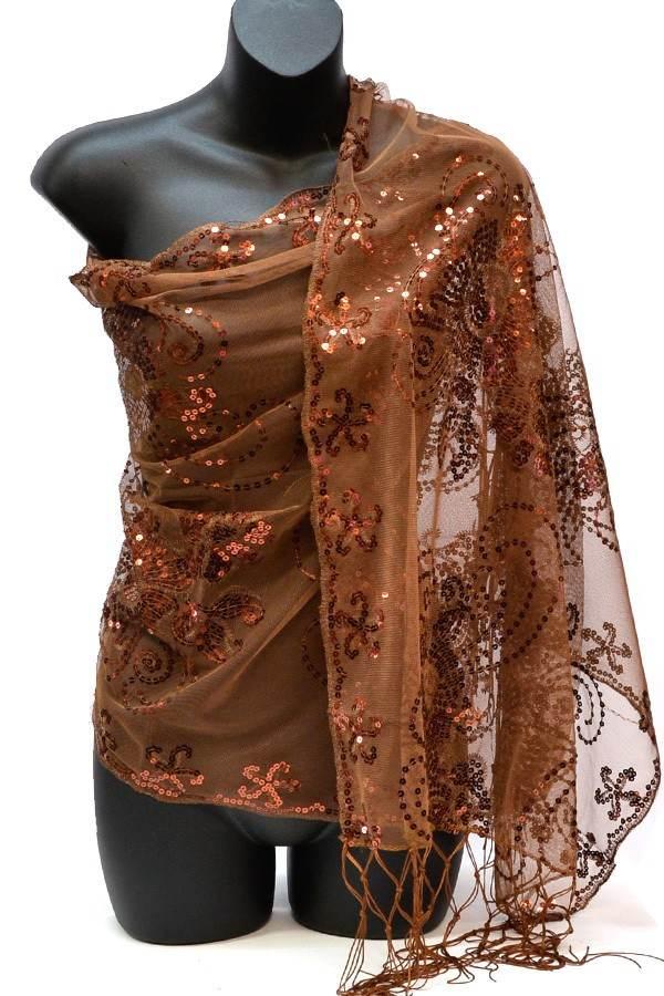 glitter scarf Brown