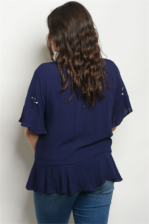 navy embroidered shirt P.S.