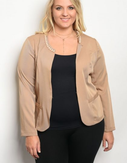 tan jacket party plus size