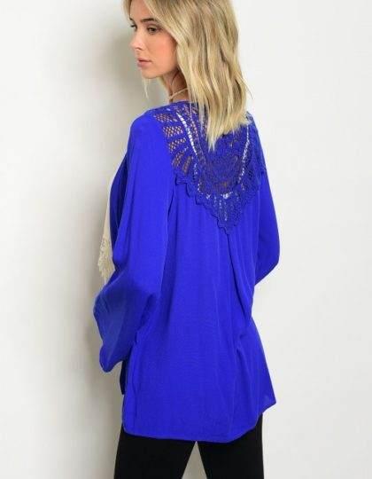 blue crochet blazer B